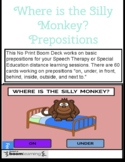 Speech Therapy Boom Cards: Where is the Silly Monkey? Prepositions Speech Fun!