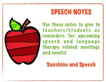 Speech Therapy Note Pack