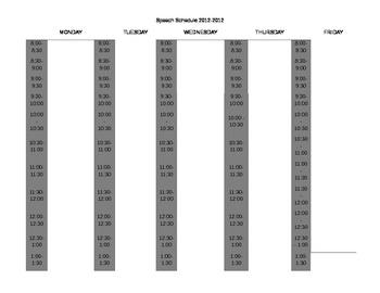 Speech Therapy / OT / Teacher / Classroom Blank Weekly & Daily Schedule