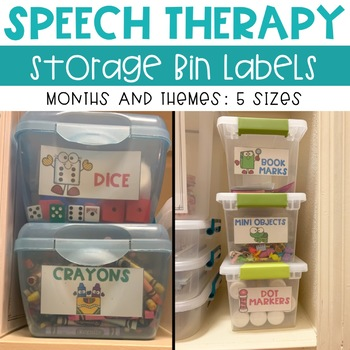 Speech Therapy Organization Bin Labels For Storage