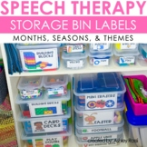 Speech Therapy Organization Labels - Storage Bins and Containers
