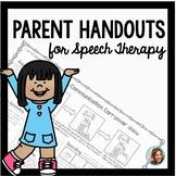 Speech Therapy Parent Handouts | Speech Therapy Homework