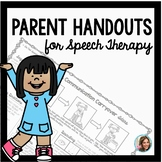 Speech Therapy Parent Handouts | Speech Therapy Ideas for