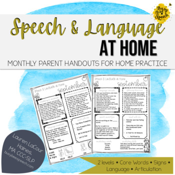 Speech Therapy Parent Handouts for the YEAR | Editable Take Home Packets