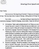Speech Therapy Parent Letter- Autumn FREEBIE