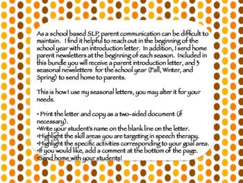Speech Therapy Parent Letter - Seasonal Bundle
