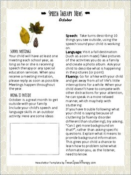 Speech Therapy Parent Newsletters- Entire School Year