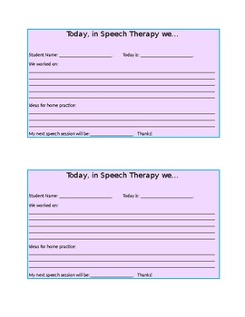 Speech Therapy Parent Note
