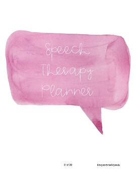 Speech Therapy Planner