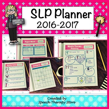 Speech Therapy Planner Calendar for 2016 to 2017