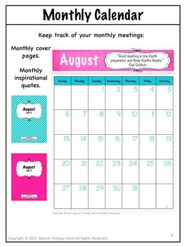 Speech Therapy Planner Calendar for 2017 to 2018