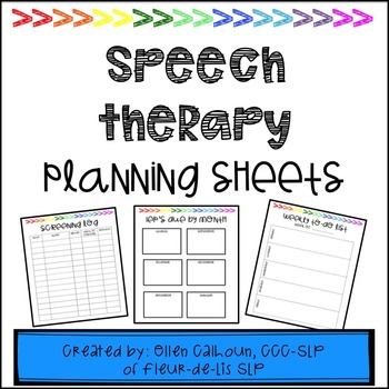 Speech Therapy Planning Sheets