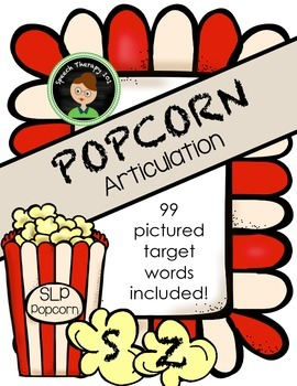 Speech Therapy Popcorn: S, S-Blend, and Z Articulation
