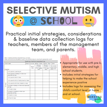 Speech Therapy - Practical initial strategies for Selective mutism at school