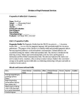 Speech Therapy-Pragmatics Profile Summary form for CELF-5