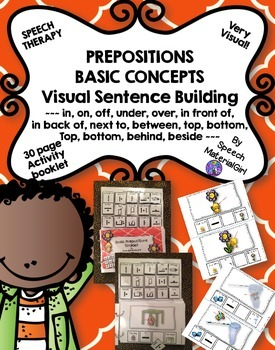 Speech Therapy Preposition Basic Concepts Interactive Booklet visual sentences