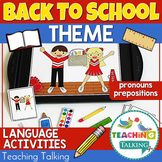 Speech Therapy Back to School - Pronouns and Prepositions