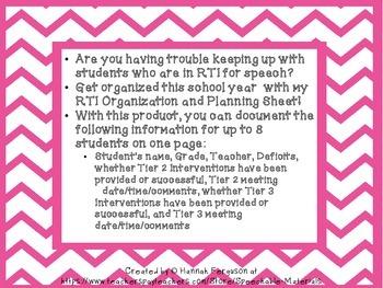Speech Therapy RTI Organization and Planning Sheet
