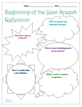 Speech Therapy Reflection: Beginning of Year
