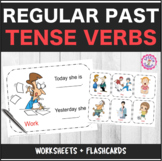 Regular Past Tense Verbs Worksheets + Flashcards