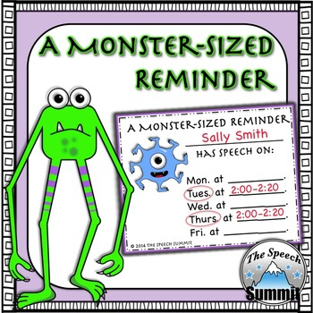 Speech Therapy Reminder Cards: A Monster-Sized Reminder