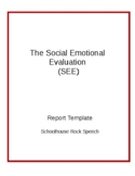Speech Therapy Report Template SEE - Social Emotional Evaluation