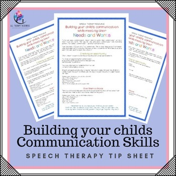 Speech Therapy Resource - Building your child's Communication!