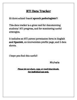 Speech Therapy  Response to Intervention (RTI) Forms and Data Tracker