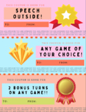 Speech Therapy Reward Coupons and Blank Classroom Reward Coupons for Students
