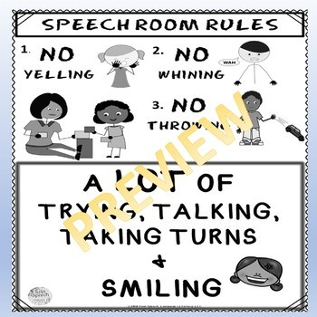 Speech Therapy Room Rules Posters