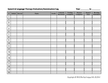 Speech Therapy Slp Evaluation Reevaluation Log By