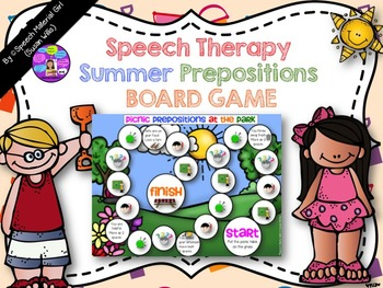Speech Therapy SUMMER BOARD GAME prepositions basic concepts follow directions