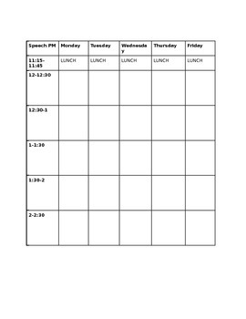 Speech Therapy Schedule Grid AM/PM