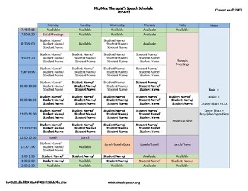 special education schedule template - speech therapy schedule template by agb speech therapy tpt