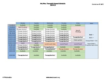 Speech Therapy Schedule Template
