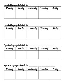Speech Therapy Scheduling Slips for Teachers
