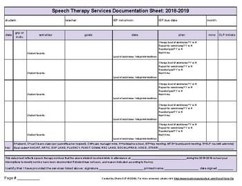 Speech Therapy Services Documentation Sheet for 2018-2019 (violet)
