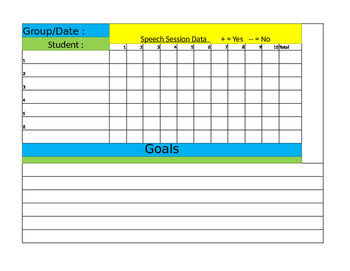 Speech Therapy Session Data Form