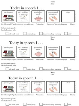 Speech Therapy Session Information Sheet for Parents