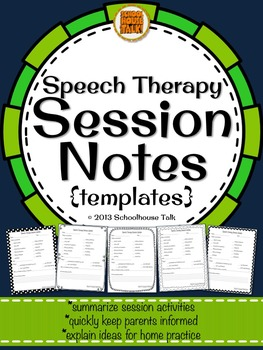Speech Therapy Session Notes - quickly and easily keep parents informed
