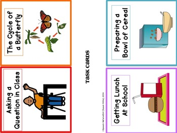 Speech Therapy Simple Basic 4-Sequence cards how-to Visual Sequencing