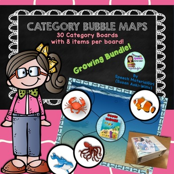Speech Therapy Sort into Categories Vocabulary Bubble Maps HUGE BUNDLE