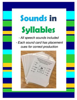 Sounds in Syllables- Articulation Activity