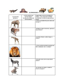 Speech Therapy Spanish Vocab w/ Questions: Zoo Animals/Animales del Zoológico