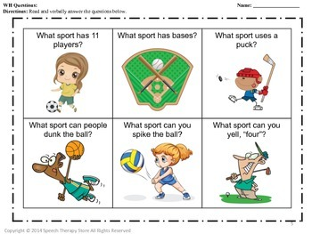 Speech Therapy Sports Bundle: Language, Articulation, & Social Pragmatics