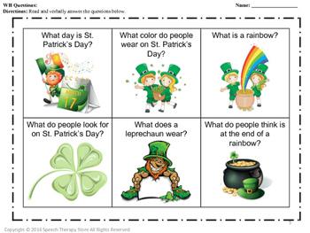 Speech Therapy St. Patrick's Day 2: Language, Articulation, & Social Pragmatics