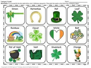 Speech Therapy St. Patrick's Day Language