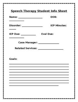 Speech Therapy Student Info Sheet
