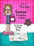 Speech Therapy Summer Articulation L Games
