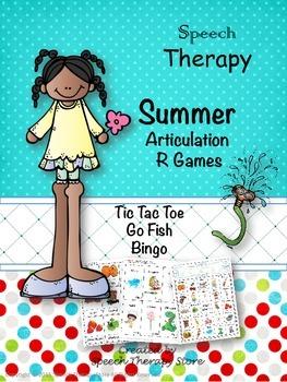 Speech Therapy Summer Articulation R Games